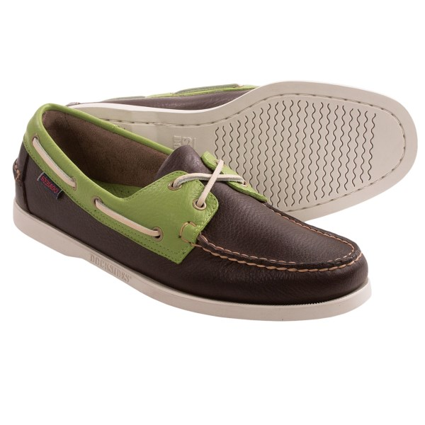 CLOSEOUTS . Contrasting leather panels give colorful contemporary appeal to Sebago Spinnaker boat shoes, a 2-eye design with rawhide laces and brass eyelets. Available Colors: DARK BROWN/GREEN. Sizes: 7.5, 8, 9.5, 10, 10.5, 11, 11.5, 12, 13.