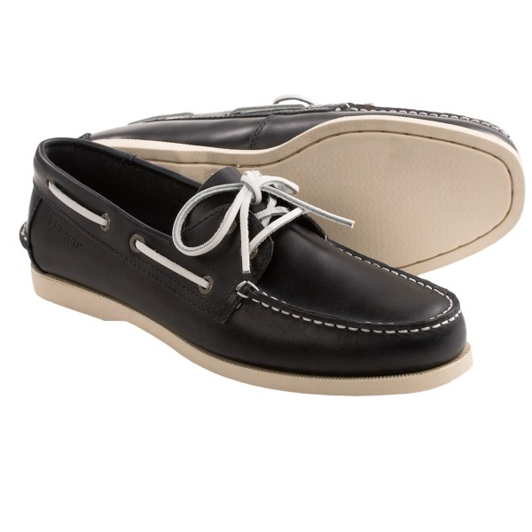CLOSEOUTS . Set sail or navigate the shoreline in Sebagoand#39;s Wharf 2-eye boat shoes, a timeless design made of supple leather with a siped outsole for traction on wet surfaces. Available Colors: NAVY SMOOTH. Sizes: 7, 7.5, 8, 8.5, 9, 9.5, 10, 10.5, 11, 11.5, 12, 13.