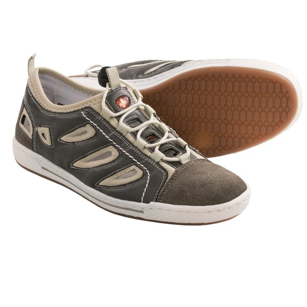 CLOSEOUTS . A sporty hybrid thatand#39;s half sandal and half lace-up, Rieker Anika 67 shoes are incredibly flexible. The breathable leather upper has quick-lacing convenience and Riekerand#39;s renowned anti-stress technology. Available Colors: DUST. Sizes: 36, 37, 38, 39, 40, 41, 42.