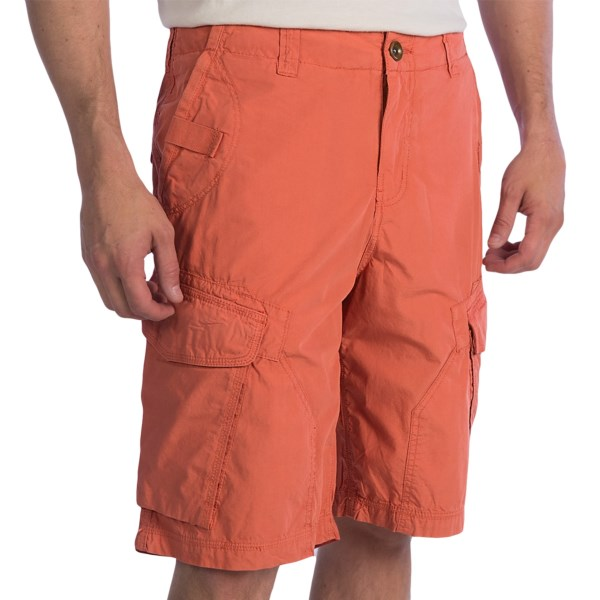 CLOSEOUTS . Now these are some burly cargo shorts. Made from a robust, vintage-wash poplin, True Gritand#39;s Patrol shorts are styled in a relaxed, laid-back fit with stylish extras like web-tape trim, triple-stitch seaming (also very durable), and contrast button-hole threads that match interior waist embroidery. Available Colors: STONE, VINTAGE CANTEEN, FADED TURQUOISE, WASHED RED.