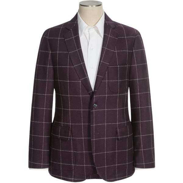 CLOSEOUTS . Not exactly a sedate windowpane, is it? Beef up your slender physique and your ho-hum wardrobe with the big and bold attitude of this Flynt Bond sport coat. A partially lined twill spun from heavyweight wool and nylon. Available Colors: BURGUNDY, BLACK.