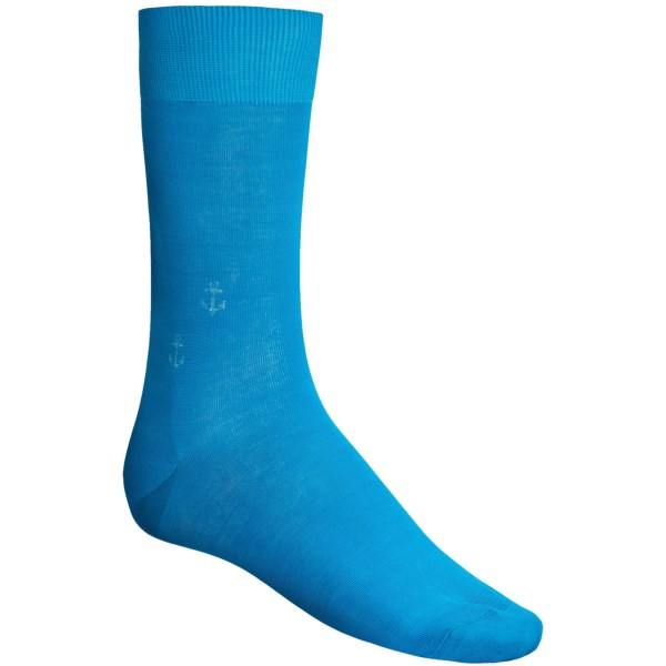 CLOSEOUTS . Lend a dash of style and a touch of elegant flair to your standard dress attire with the unique pattern of Puntoand#39;s anchor print socks. The soft Egyptian cotton construction features low-profile seams for comfort you can feel step-after-step. Available Colors: KHAKI, ROYAL, TURQUOISE, GREEN, PURPLE. Sizes: O/S.