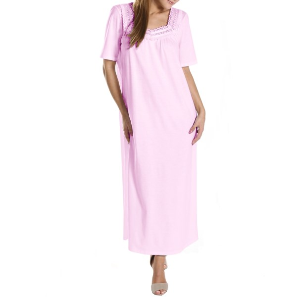 CLOSEOUTS . Only the finest European cottons make their way into Rosch nightwear, and this exquisite nightgown is a premium cotton jersey trimmed at the neckline in mitered daisy lace and satin ribbons. Available Colors: WHITE, PINK. Sizes: 36, 38, 40, 42, 44, 46, 48, 50, 52.