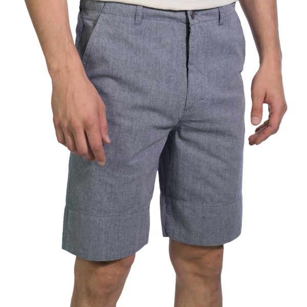 CLOSEOUTS . Swoon-worthy: Refined organic cotton chambray combines with a modern, simple cut and flat-front design in Arborand#39;s Southside shorts, striking that perfect balance between country-club hottie and upgraded hipster. Available Colors: BLUE. Sizes: 28, 30, 34, 36, 38.