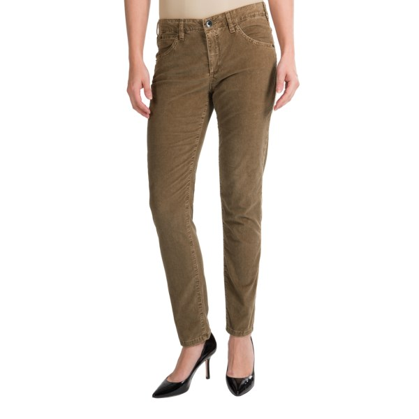 CLOSEOUTS . Just in time for boot season, Theyskens Theoryand#39;s Penny Pinwale corduroy pants have a slouchy silhouette that tapers for a close fit at the ankle. The washed pinwale corduroy is velvet soft and spun with 3% stretch for a comfortable, all-day fit. Available Colors: KHAKI BROWN.
