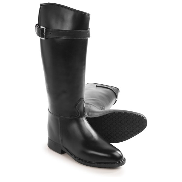 CLOSEOUTS . A real city slicker designed for rain and cold, Davand#39;s Equestrian Stretch rain boots offer waterproof performance and a cozy warm lining. Includes stretch panel and adjustable buckle to snug in the fit. Available Colors: BLACK. Sizes: 5, 6, 7, 8, 9, 10.