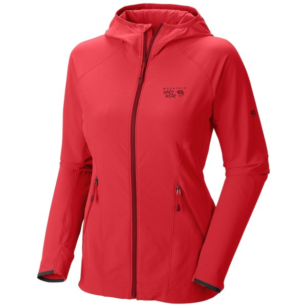 CLOSEOUTS . Chock full of alpine-climbing-friendly features, Mountain Hardwearand#39;s Super Chockstone jacket is a low-profile, trim-fitting soft shell with built-in UPF 50, close-fitting hood and water-repelling DWR finish. Available Colors: RED HIBISCUS, GRAPHITE, NECTAR BLUE. Sizes: XS, S, M, L, XL.