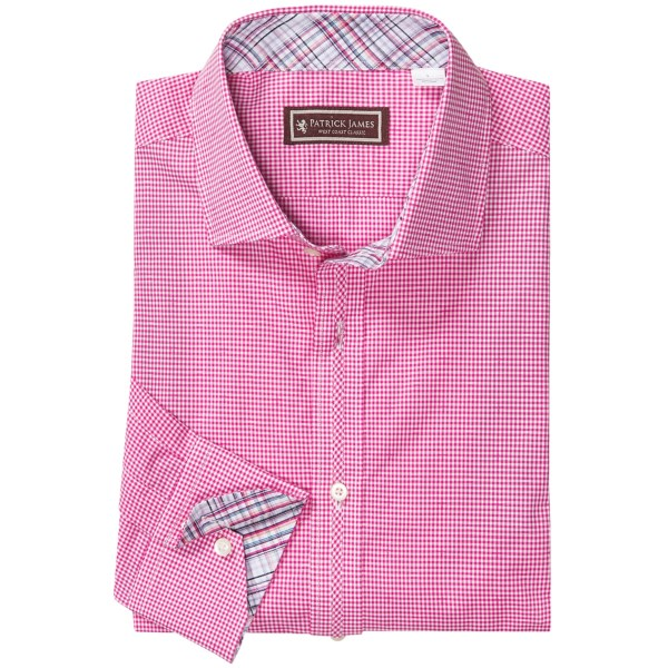 CLOSEOUTS . The classic look of the Patrick James gingham shirt never goes out of style. The crisp cotton presents a soft hand and features a traditional spread collar and button-through front. The neckband and mitered cuffs with contrast fabric detail add a subtle, modern touch of style that pairs perfectly with your contemporary dress wardrobe. Available Colors: BLUE, ORANGE, PINK. Sizes: M, L, XL, 2XL.
