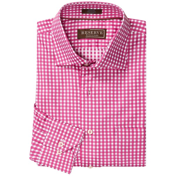 CLOSEOUTS . Crisp cotton with a substantial feel and a bold, classic pattern make the Patrick James Reserve check shirt a must-have for your dress wardrobe. The French front and mitered cuffs pair perfectly with your contemporary suit or sport coat and are versatile enough to lend a touch of refinement to your premium denim when the workday ends. Available Colors: IMPERIAL, PINK, ROYAL. Sizes: S, M, L, XL, 2XL.