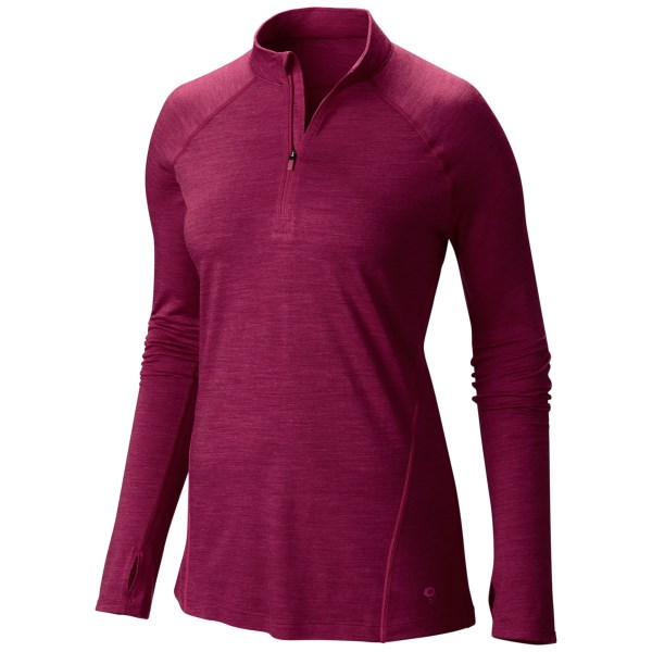 CLOSEOUTS . It may look like a simple pullover, but Mountain Hardwearand#39;s Integral Pro zip neck shirt is a wicking, temperature-regulating masterpiece. The luxe merino wool fibers work as double agents to keep your body temps at optimum levels no matter what youand#39;re doing, and the sporty cut facilitates easy movement and looks great. Available Colors: MAYAN GREEN, POMEGRANATE, ARISTOCRAT. Sizes: XS, S, M, L, XL.