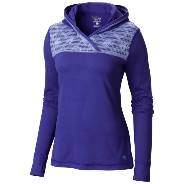CLOSEOUTS . A flattering pullover that balances moisture-wicking performance with sporty good looks, Mountain Hardwearand#39;s Whipped Butter hoodie sweatshirt is unmatched in luxe softness and reliable indoor-outdoor performance. Available Colors: NECTAR BLUE, POMEGRANATE. Sizes: XS, S, M, L, XL.