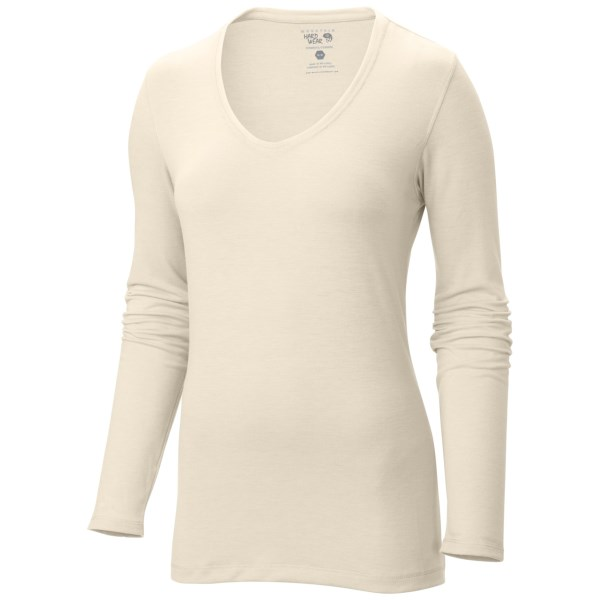 CLOSEOUTS . Travel, layering, lounging... thereand#39;s not much Mountain Hardwearand#39;s DrySpun Solid shirt canand#39;t do. The stretchy-soft, dry-spun jersey fabric is infused with cooling, fast-drying Wick.Q technology, and the cut is shapely and simple for versatile wear. Available Colors: SNOW, MAYAN GREEN, POMEGRANATE, GRAPHITE. Sizes: XS, S, M, L, XL.