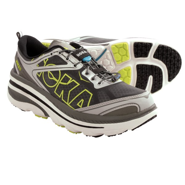 CLOSEOUTS . Hoka One One Bondi 3 road running shoes deliver maximum cushioning for going the distance. The highly breathable upper has early stage Meta-Rocker and a 4.5mm drop for runners seeking improved economy and a natural feel. Available Colors: BLACK/CASTLEROCK/WHITE, BRILLIANT BLUE/HI RISE/CITRUS, GREEN GLOW/BLACK/WHITE, WHITE/SILVER/CITRUS. Sizes: 8.5, 9, 9.5, 10, 10.5, 11, 11.5, 12, 12.5, 13, 14, 7.5, 8, 13.5.