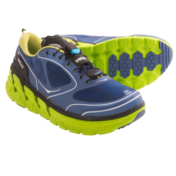 CLOSEOUTS . A cushioned choice for long runs and recovery runs, Hoka One One Conquest road running shoe combines the maximalist midsole concept with a fast, highly responsive design. Available Colors: CITRUS/BLACK, FROST GREY/BLUE/WHITE, FIREY RED/BLACK/SILVER, NAVY BLUE/LIME/BLACK. Sizes: 8, 9, 9.5, 10, 10.5, 11, 11.5, 12, 13, 12.5, 7.5, 8.5, 13.5, 14.