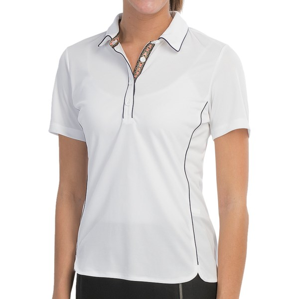 EP Pro Calabria Scroll Ribbon Polo Shirt - Short Sleeve (For Women)