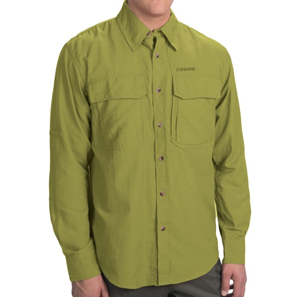 CLOSEOUTS . Sageand#39;s Opala guideshirt is filled with features that make it ideal for anglers on and off the water. The lightweight and durable fabric dries quickly, wicks moisture and has an odor-resistant treatment. Available Colors: SMOKE, OFFSHORE BLUE, DORADO, CANYON. Sizes: S, M, XL, L.