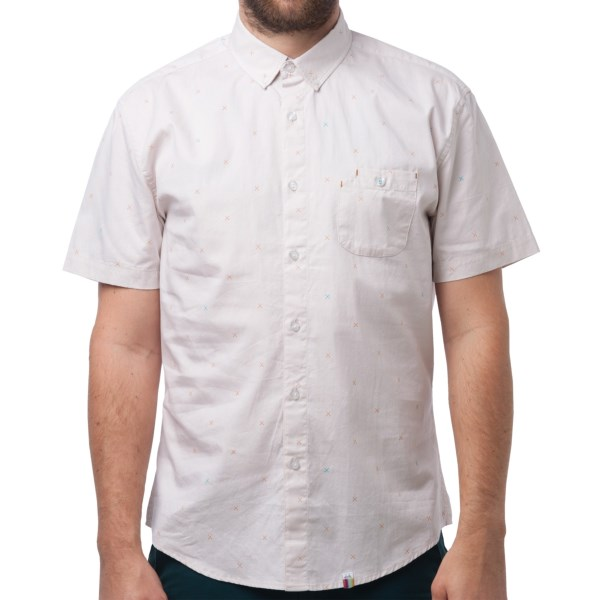 CLOSEOUTS . Lending casual, untucked style with a touch of refinement, SLVDRand#39;s Hermosa shirt is a classic button down with a unique (but subtle) cross board pattern atop soft, fine-woven chambray. Available Colors: BLUE, SAND. Sizes: S, M, L, XL.