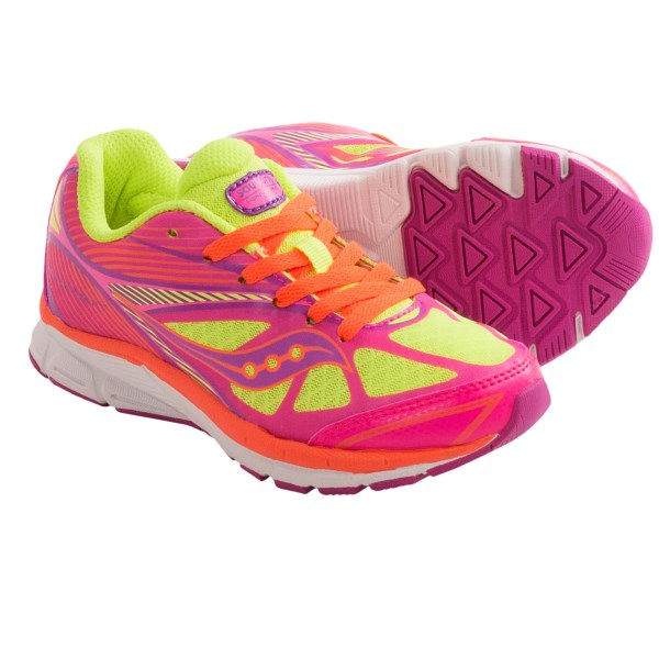 CLOSEOUTS . A sized-down version of the adult classic, Saucony Kinvara 4 running shoes offer an outstanding fit, lightweight construction and excellent durability. Available Colors: CITRON. Sizes: 10.5, 11, 11.5, 12, 12.5, 13, 13.5, 1, 1.5, 2.5, 3.