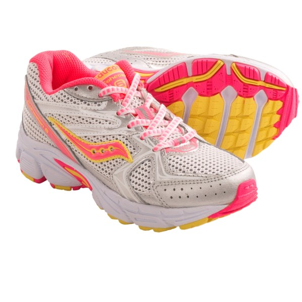 CLOSEOUTS . A sticky choice for running and athletic play, Saucony Cohesion 6 LTT running shoes have a well-padded lining and PowerGrid midsole foam for cushioning. Available Colors: WHITE MULTI, SILVER MULTI. Sizes: 10.5, 11, 11.5, 12, 12.5, 13, 13.5, 1, 1.5, 2, 2.5, 3.