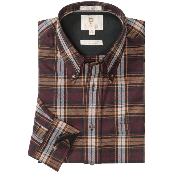 CLOSEOUTS . Now in their second exceptional century of business, Viyella shirts are legendary for their soft, dress-weight fabric that blends long-staple cotton and fine wool in just the right amounts to produce lightness, warmth and durability. Available Colors: CAMEL, NAVY, MAROON, WINE. Sizes: S, M, L, XL, 2XL.