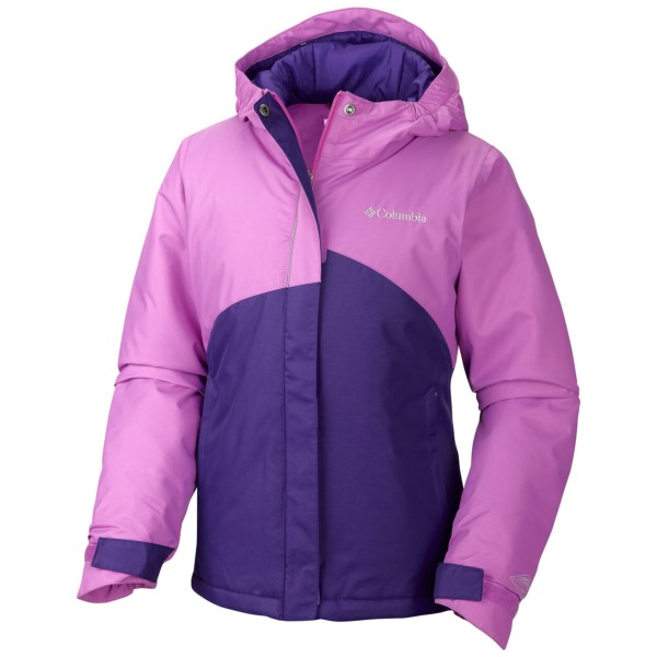 CLOSEOUTS . Columbia Sportswearand#39;s Crash Out jacket is designed to keep your little lady dry, toasty and comfortable. This insulated and waterproof breathable jacket features the OUTGROWN grow system. Available Colors: BLOSSOM PINK/HYPER PURPLE. Sizes: 2XS, XS, S, M, L, XL.