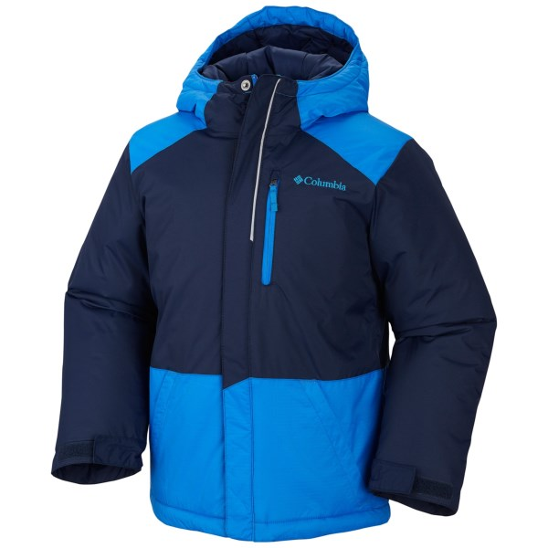 CLOSEOUTS . Columbia Sportswearand#39;s Lightning Lift jacket is perfect for snow play or cold waits at the bus stop, thanks to warm insulation and a water-resistant nylon shell. Available Colors: BLACK/GRAPHITE, COLLEGIATE NAVY/HYPER BLUE. Sizes: 2T, 3T, 4T.