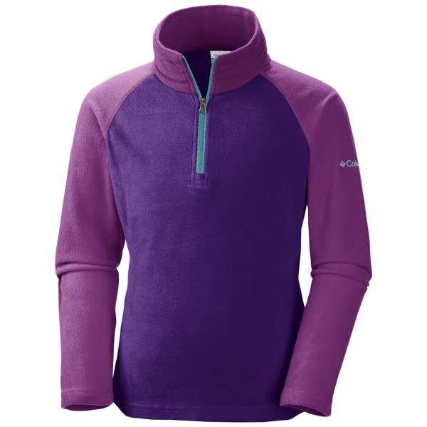 CLOSEOUTS . Ideal for layering up your little one, Columbia Sportswearand#39;s Glacial Fleece pullover is made of breathable microfleece and features a zip neck that allows for warmth or ventilation. Available Colors: HYPER PURPLE, OCEANIC. Sizes: 2T, 3T, 4T.