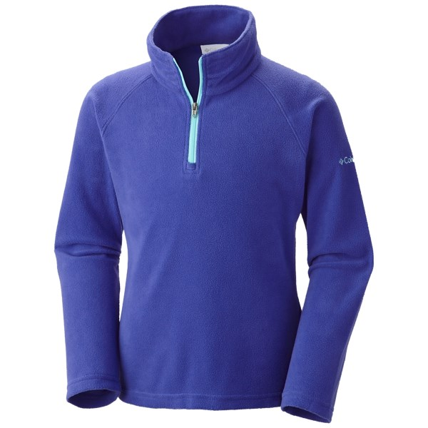 CLOSEOUTS . Ideal for layering, Columbia Sportswearand#39;s Glacial Fleece pullover features a handy zip neck and is made of breathable, insulating microfleece. Available Colors: WHITE, LIGHT GRAPE/CANDY MINT, FOXGLOVE/COLLEGIATE NAVY. Sizes: 2XS, XS, S, M, L, XL.