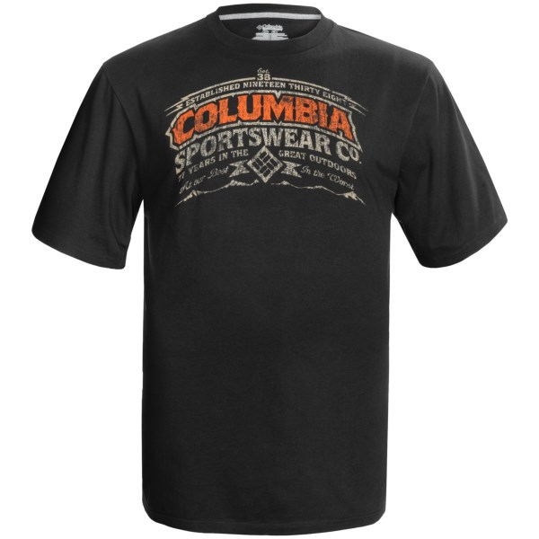 CLOSEOUTS . You just want to throw on a good T-shirt and a pair of jeans and head out the door, and Columbia Sportswearand#39;s Gem Columbia T-shirt likes your attitude. Itand#39;s made of lightweight, breathable, airy cotton that is perfect for wherever your day takes you, and the screenprint logo design shows off your rugged and easy-going attitude. Available Colors: BLACK, GREY/HEATHER, WHITE. Sizes: L-TALL, XL-TALL, 2X-TALL, 3X-TALL, 4X-TALL.