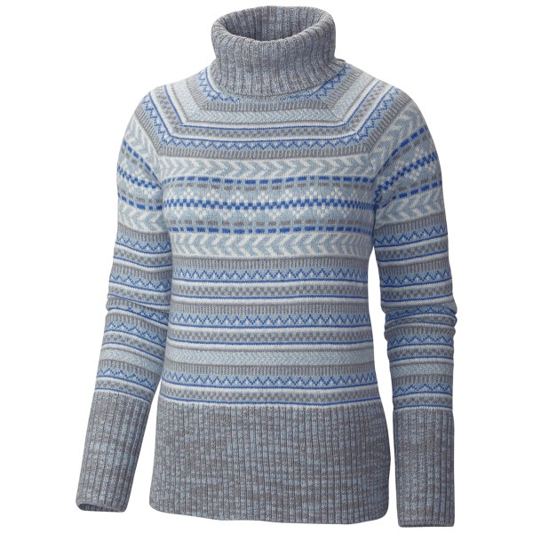 CLOSEOUTS . Cozy into this soft winter favorite. Columbia Sportswearand#39;s winter Worn II turtleneck sweater imbued with a hint of wool, a Nordic-inspired pattern and wide rib-knit cuffs and hem. Available Colors: MIRAGE, MOONSTONE. Sizes: XS, S, M, L, XL.