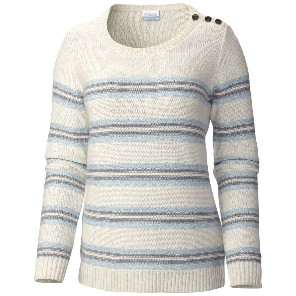 CLOSEOUTS . A pretty knit stripe and eye-catching shoulder button detailing lend a touch of unique style to Columbia Sportswearand#39;s Winter Worn II sweater, your soon-to-be staple for cute, wintry style. Available Colors: MOONSTONE, SEA SALT, HARBOR BLUE. Sizes: XS, S, M, L, XL.
