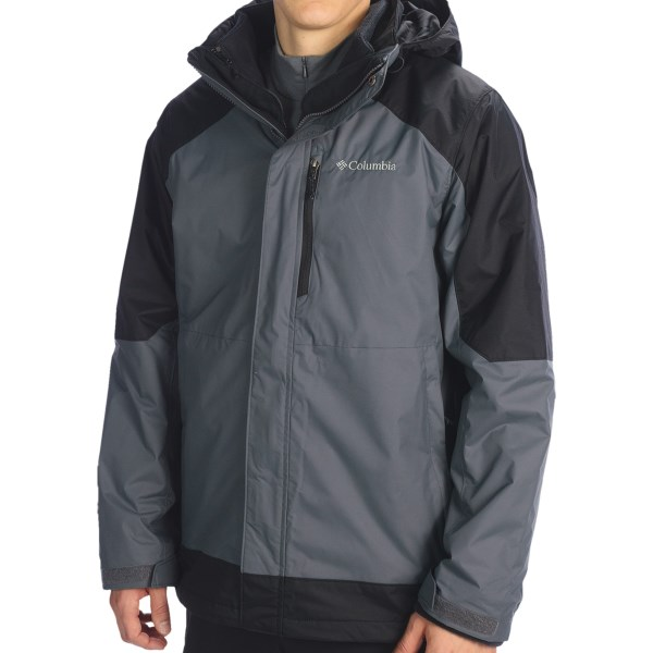 CLOSEOUTS . The zip-out fleece liner jacket in Columbia Sportswearand#39;s Frozen Canyon interchange jacket provides warm insulation when zipped into the water-resistant shell and lightweight warmth when worn on its own. Available Colors: GRAPHITE/BLACK. Sizes: S, M, L, XL, 2XL.