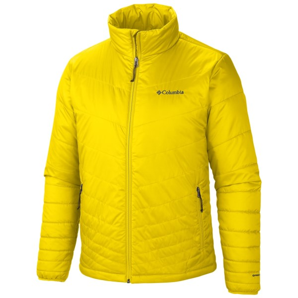 CLOSEOUTS . Light on weight and heavy on warmth, Columbia Sportswearand#39;s Mighty Light jacket pairs Omni-Heatand#174; thermal insulation and thermal reflective technology with a highly packable ripstop nylon shell. Available Colors: BRIGHT YELLOW. Sizes: S, M, L, XL, 2XL.