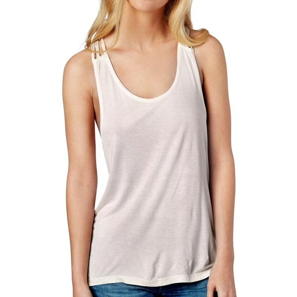 CLOSEOUTS . The sassiest tank weand#39;ve got, Roxyand#39;s Sparked Flame tank top is made of a softly draping viscose fabric that slinks around the shoulders and shows off an open macrame back. Available Colors: TILE BLUE, TRUE BLACK, AURORA. Sizes: XS, S, M, L, XL.
