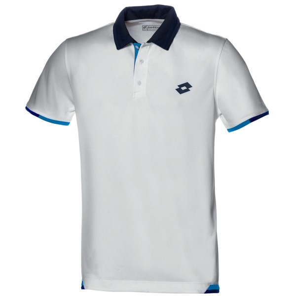 CLOSEOUTS . Step up to the net and punch a volley down the line in style with Lottoand#39;s Lob tennis polo shirt. This lightweight performance shirt is an ace at match point. Available Colors: WHITE/DEEP NAVY, BLUE MOON/DEEP NAVY, DEEP NAVY/BLUE MOON. Sizes: S, M, L, XL, 2XL.