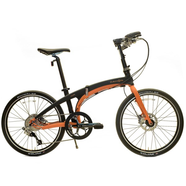 CLOSEOUTS . A dream ride for commuters, urbanites and bike enthusiasts, the Dahon Ios S9 collapsible bike features a responsive and lightweight Dalloy aluminum frame with an adjustable riding position and Flatpak technology that allows you to fold the bike for easy transport and low-profile storage. Available Colors: BLACK/ORANGE.