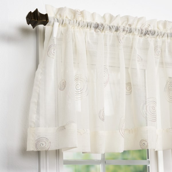 CLOSEOUTS . Every room needs a breath of fresh air now and then, and United Curtain Co.and#39;s Sedona valance is exactly the decor to provide it. Semi-sheer fabric is topped with an array of contrast- and tonal-embroidered circles, each made up of a series of small triangles for a unique, modern vibe. Available Colors: PEARL, BLACK, BLUE.