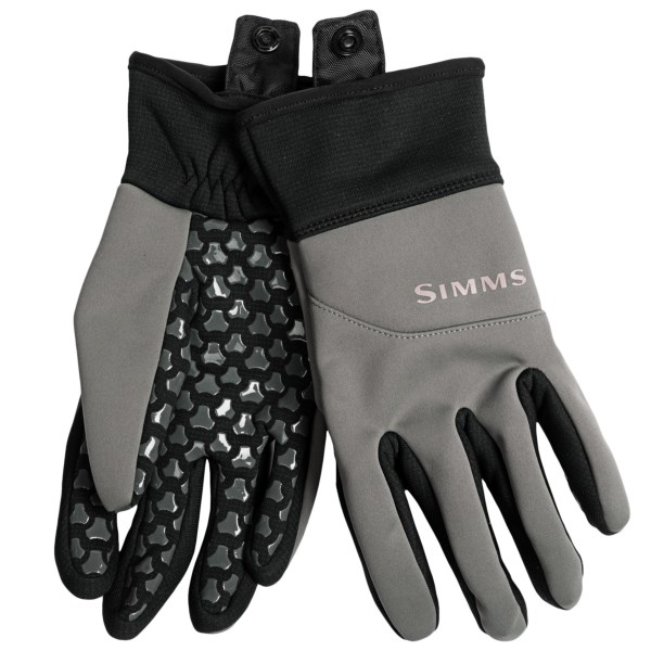 CLOSEOUTS . In cold-weather conditions dexterity is key, and Simmsand#39; Windstopperand#174; flex gloves deliver wind-resistant, lightweight warmth without the bulk so you can stay on the water longer. The breathable Polartecand#174; Wind Pro technology repels water, and the textured palm and fingers ensure a sure grip. Available Colors: GUNMETAL. Sizes: S, M, L, XL.