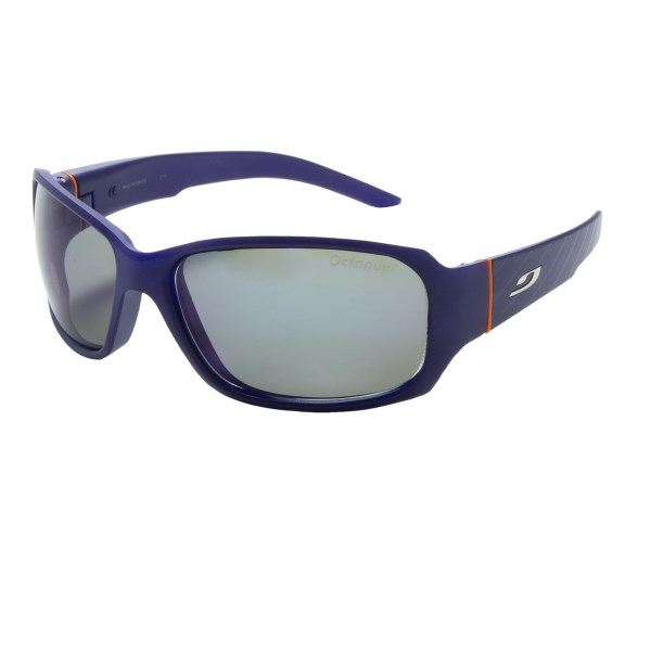 CLOSEOUTS . See the world more clearly with the sophisticated style of Julbo Tour sunglasses. Polarized, photochromic lenses reduce glare and adjust automatically to changing light conditions. Available Colors: BLUE JEAN/ORANGE/OCTOPUS LENS, BLACK/ROGUE/FALCON LENS.