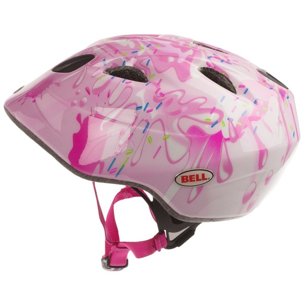 CLOSEOUTS . With a fun design and easy adjustments, Belland#39;s Tater bicycle helmet is great for kids who arenand#39;t as eager to protect their noggin as their parents are. Available Colors: BLACK/RED SNAKEBITE, BLUE/GREEN GATORS, BLUE/PNEEK CHIHUAHUA, PINK MILKSHAKE, PURPLE/WHITE/MAGENTA COLLAGE, WHITE/RED/BLACK MEMO. Sizes: O/S.
