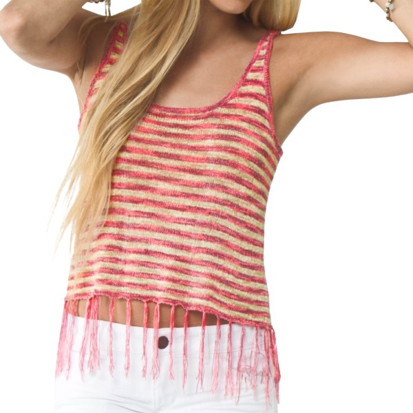 CLOSEOUTS . When the days are long and the surf is up, Oand#39;Neilland#39;s Cecilia tank top will be your new BFF for evenings spent on the beach around the fire. The soft, lightweight polyester knit looks great with cut-off denim, and the fringe detail sets you apart from the fireside crowd. Available Colors: AQUA BLUE, MAGENTA. Sizes: XS, S, M, L, XL.