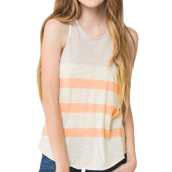 CLOSEOUTS . Get a different look this summer when you sport Oand#39;Neilland#39;s Spencer tank top. Made of lightweight cotton and quick-drying polyester, with a rolled bottom hem that comes down to your hips for an easy-breezy look. Available Colors: LIGHT GREY. Sizes: XS, S, M, L.