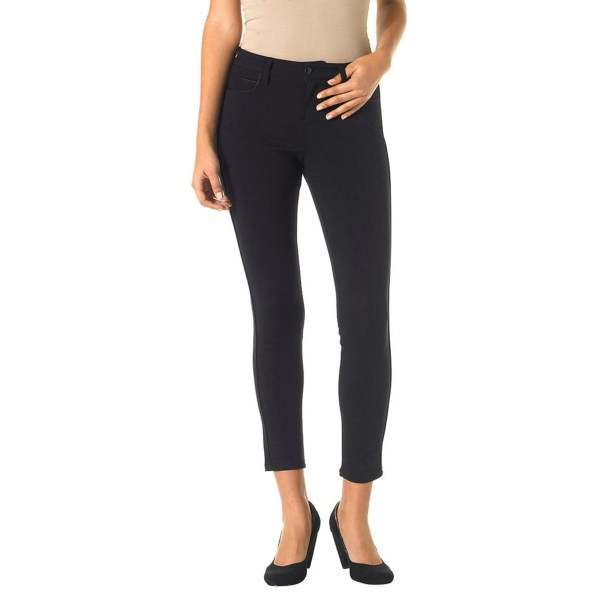 CLOSEOUTS . Women have enjoyed the flattering, polished look of ankle pants since the 1930s; Christopher Blueand#39;s Audrey slim ankle pants bring that beloved style into the modern wardrobe, freshened up in midweight, wrinkle-resistant ponte fabric with faux-leather piping accents. Available Colors: BLACK. Sizes: 0, 2, 4, 6, 8, 10, 12, 14, 16.