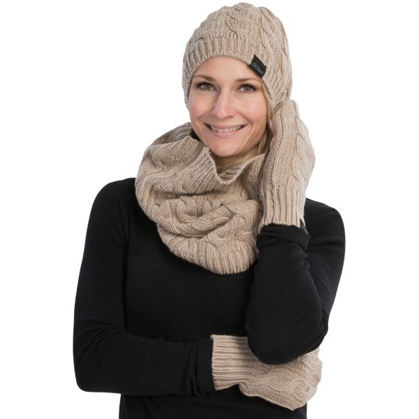 Chaos Cable-knit Beanie, Scarf And Mitten Set - Wool/acrylic (for Women)