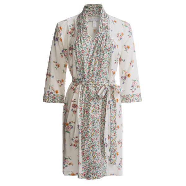 CLOSEOUTS . A light, summery robe in pretty floral print, Carole Hochmanand#39;s Floral Fields short robe will soon become your morning-evening staple. The versatile, quick-tie design makes this a great post-shower cover-up, and itand#39;s soft next to skin with its fine-knit cotton fibers. Available Colors: GLISTENING FIELDS IVORY. Sizes: M, L, XL.