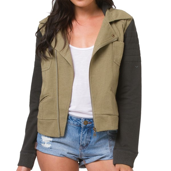 CLOSEOUTS . Meet the cutest new hoodie in your closet! Billabongand#39;s Quiet Down Moto jacket feels like your favorite sweatshirt, except itand#39;s all styled up with an asymmetric moto zip and contrasting sleeves for color block appeal. Available Colors: GRASS ROOTS, OFF BLACK. Sizes: S, M, L.