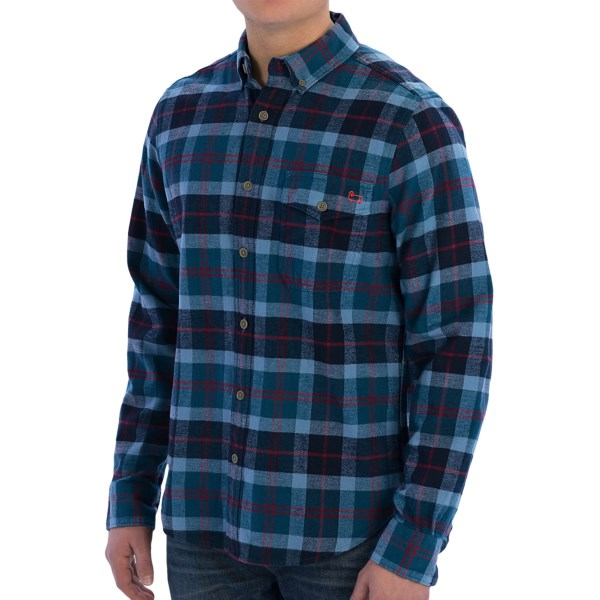 CLOSEOUTS . The Woolrich Rich flannel shirt presents a vintage pattern in soft flannel for a style thatand#39;s as comfortable at the office as it is around the house. The button-down collar creates a classic look, and the chest pocket comes in handy for holding small essentials. Available Colors: CARDINAL YARN DYE, COPEN YARN DYE, DEEP RUBY YARN DYE, NAVY YARN DYE. Sizes: S, M, L, XL, 2XL.