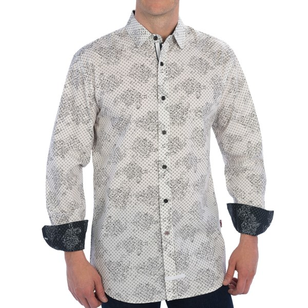 CLOSEOUTS . Not a modern fit? Order the next size up and wow your fellow city slickers with this on-trend sport shirt from English Laundry.  The contrasting abstract prints create a nice diversion, and youand#39;ll love the double-taped under placket, visible at the neckline. Available Colors: WHITE/BLACK, BLACK/GREY, GREY/BLACK, BLUE/BLACK. Sizes: S, M, L, XL, 2XL.