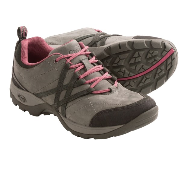 CLOSEOUTS . If youand#39;re that gal who would spend every day on the trail if she could, then Chacoand#39;s Winsome Trail shoes are right up your alley. The water-resistant nubuck and suede upper has rubber at the toe and heel to help protect against wet conditions and add durability. When it comes to keeping your feet, the non-marking Active Adventure outsole has multi-directional lugs to provide serious traction. P.S. If you DO spend every day on the trail, weand#39;re really jealous of your awesome life! Available Colors: BUNGEE, CHOCOLATE CHIP, GUNMETAL, BLACK. Sizes: 5, 5.5, 6, 6.5, 7, 7.5, 8, 8.5, 9, 9.5, 10, 10.5, 11.