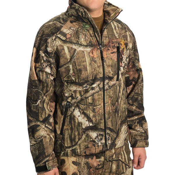 CLOSEOUTS . Browningand#39;s Wasatch soft shell jacket offers quiet snag-resistant performance for big game hunting. Itand#39;s constructed windproof, water-resistant 3-layer fabric is highly breathable. Available Colors: MOSSY OAK INFINITY. Sizes: 2XL.